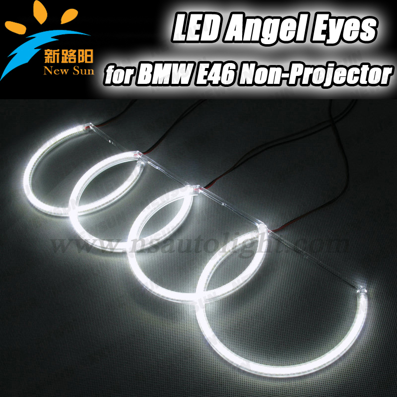 E46 non projector SMD led angel eyes halo ring kit car smd ring headlight led bulb 3014smd high quality light car accessories led rings white 3014 smd led angel eyes headlight halo ring marker 131mm 145mm for bmw e46 non projector