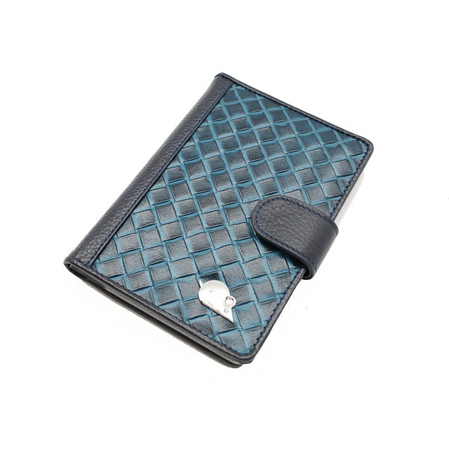 Genuine Leather Credit Card Holder/Case Card Holder Qallet Business Card PackageWomen Blue Bag bank card