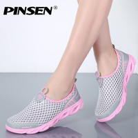 PINSEN 2018 Summer Casual Shoes Woman Slip On Platform Flats Female Breathable Zapatillas Slipony Women Shoes