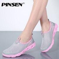 PINSEN 2018 Summer Casual Shoes Woman Slip On Platform Flats Female Breathable Zapatillas Slipony Women Shoes