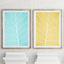 Minimalist Poster Abstract Blue Yellow Leaves Canvas Painting Wall Art Prints Scandinavian Geometric Picture Home Decoration