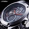SINOBI Chronograph Watch Men Sport Watches Waterproof Leather Geneva Military Men S Quartz Clock Relogio Masculino