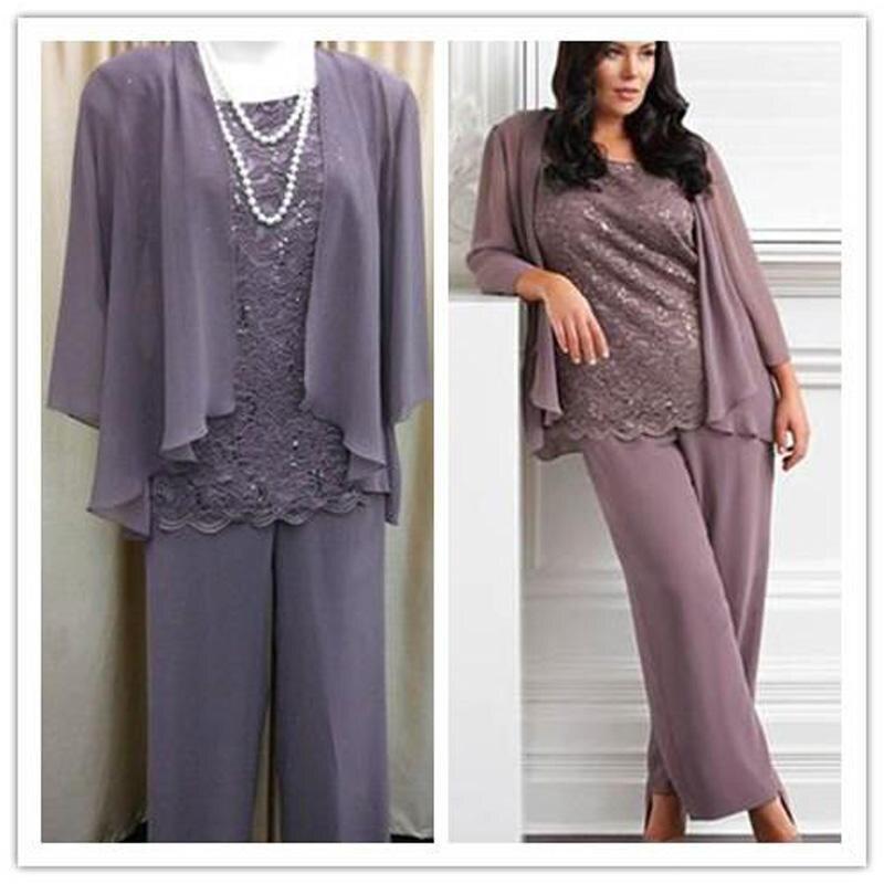 New 2016 Three Pieces Lace Chiffon Mothers Pants Suit Purple Long