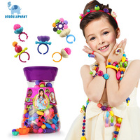 240pcs DIY Pop Beads Puzzle Toys For Kid Plastic Jewelry Fashion Kit Colorful Girl Wearing Beads