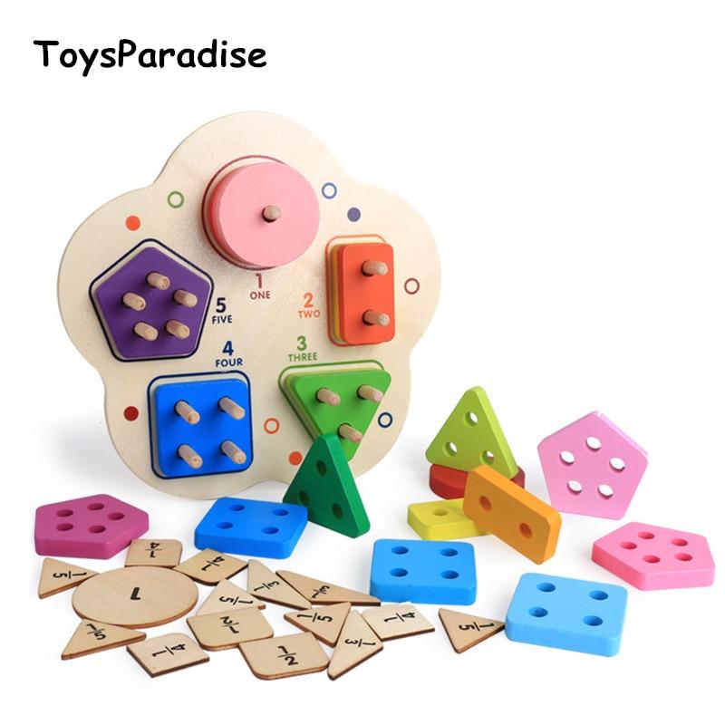 Baby Toys Digital Building Blocks Fraction Montessori Geometric Sorting Board Wooden Toys For Kids Flower Column Birthday Gift By Scientific Process Model Building Blocks