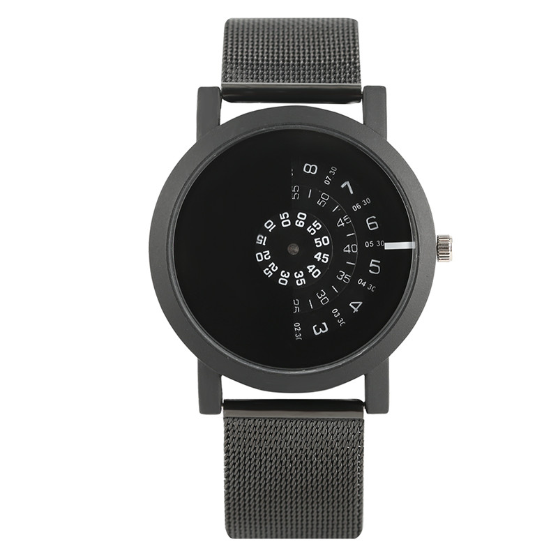 цены на Cool Black Half Turntable Dial Wristwatch Women Modern Quartz Watches Circle Creative Men Sport Mesh Steel Strap Clock Hour Gift в интернет-магазинах
