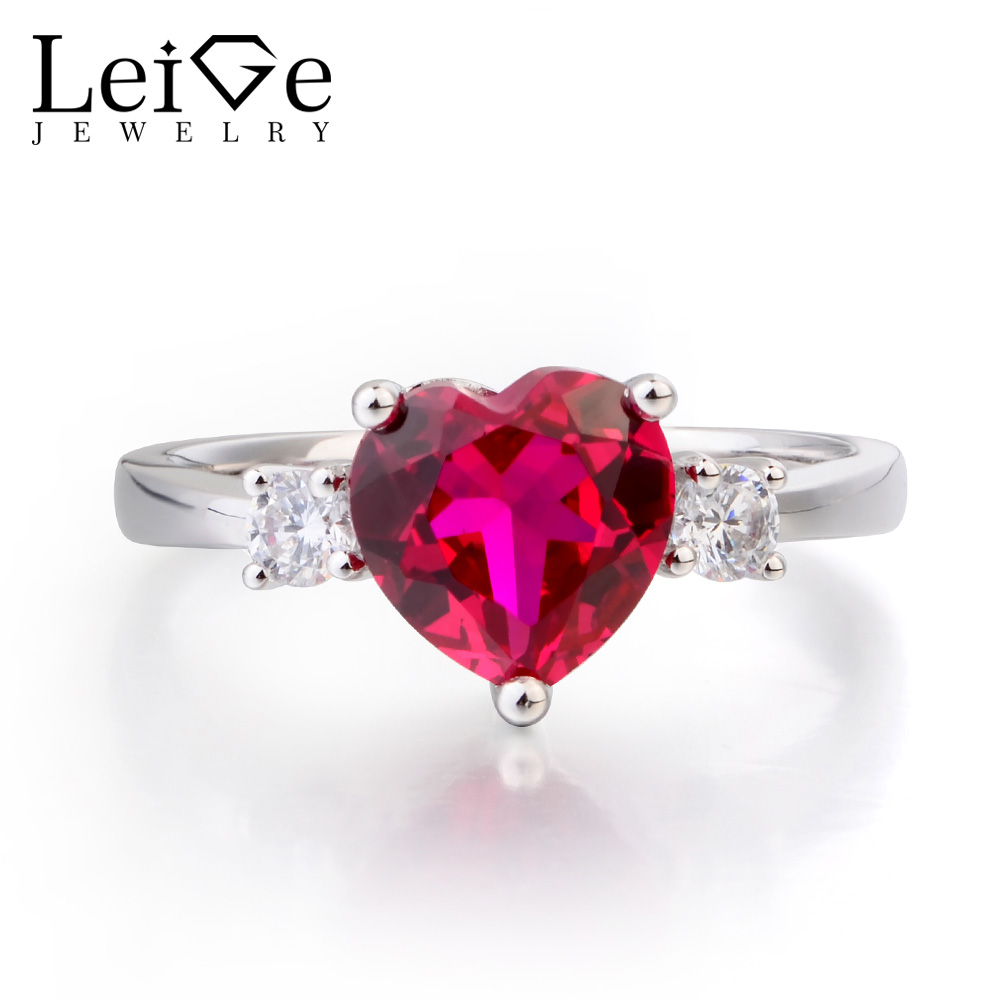 Leige Jewelry Anniversary Ring Ruby Ring July Birthstone Heart Cut Red Gemstone Solid 925 Sterling Silver Ring Gifts for Women
