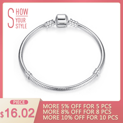 Luxury 100% 925 Sterling Silver Charm Chain Fit Original Bracelet Bangle for Women Authentic Jewelry Pulseira Gift XCHS902