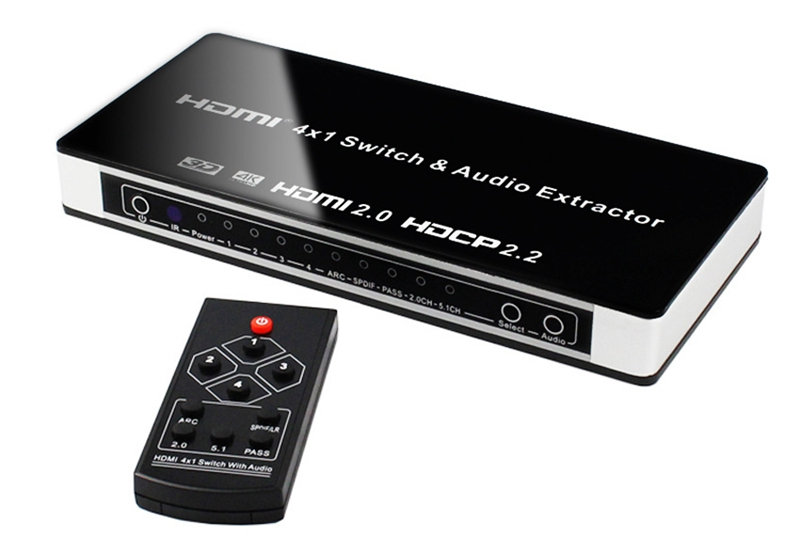 HDMI 2.0 Switch 4x1 HDMI Switcher video Converter 4 in 1 out Audio Extractor Toslink/SPDIF RCA 4Kx2K@60Hz HDMI2.0 HDCP2.2 7.1CH