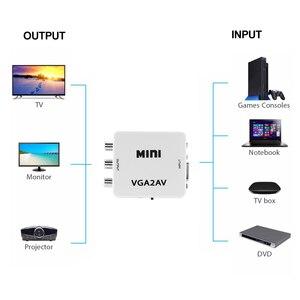 Image 3 - kebidu 1080P Mini VGA to AV RCA Converter with 3.5mm Audio VGA2AV/CVBS+Audio Convertor for HDTV PC White
