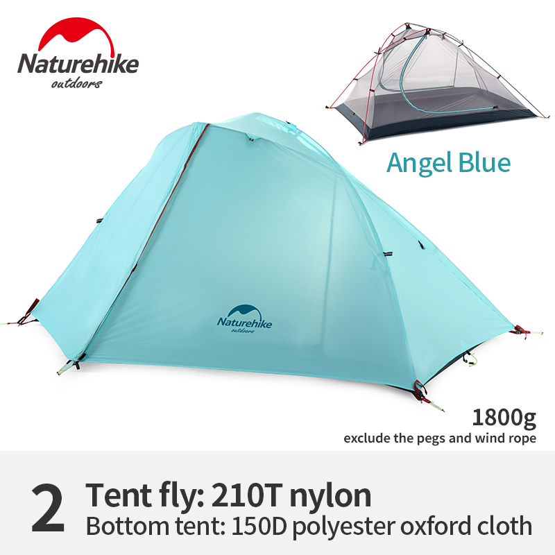 Naturehike 1-2 Persons Wind-wing Double-layer Ultralight 3 Seasons Camping Tent Outdoor Mountaineering Tent Windproof Waterproof