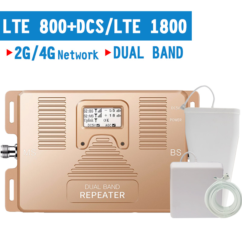 4G LTE 800 LTE 1800 MHz Mobile Phone Signal Repeater 4G LTE B20 B3 Cellular Signal Amplifier 70dB Gain 4G Booster LCD Display