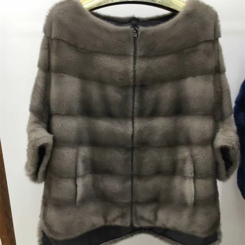 Real Mink  Fur Women Coat Bat  Jacket With Zipper Autumn Winter Short  Popular Mink Fur Overhead Coat
