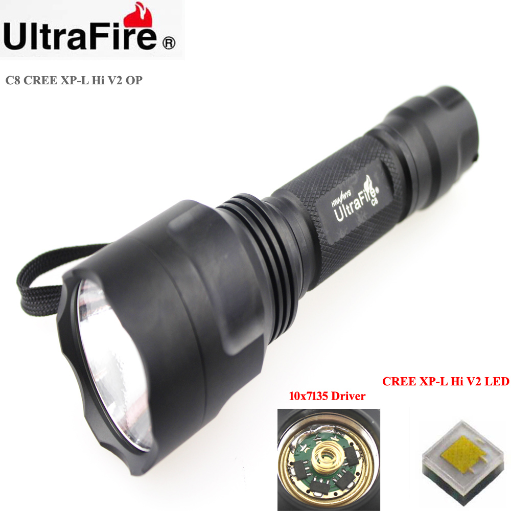 U-F C8 CREE XP-L HI V2 1600lm Cool White Light 10x7135 Driver 1-Mode OP LED Flashlight (1 x 18650)