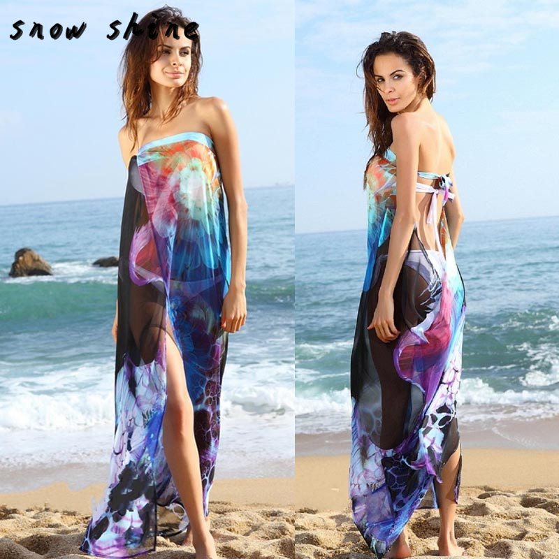 snowshine YLI Women Chiffon Floral Swimwear Summer Beach Bikini Long Dress free shipping