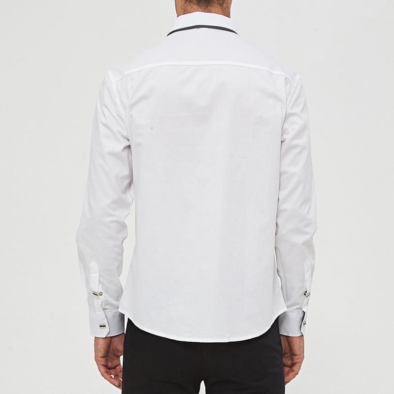 Image 2 - MIACAWOR Top Quality Shirt Men 100% Cotton Dress Shirts Spring Long Sleeve Casual Shirt Men Wedding White Shirts Men C013-in Dress Shirts from Men's Clothing