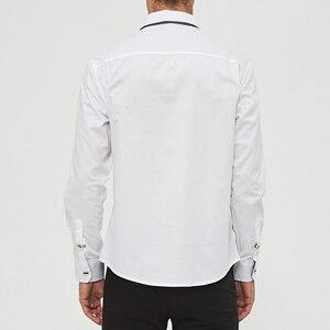 Image 2 - MIACAWOR Top Quality Shirt Men 100% Cotton Dress Shirts Spring Long Sleeve Casual Shirt Men Wedding White Shirts Men C013