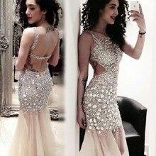 Elegant Beaded Long Mermaid Prom Dresses 2015 With Crystal vestido de festa Open Back Evening Gowns Formal dress cheap