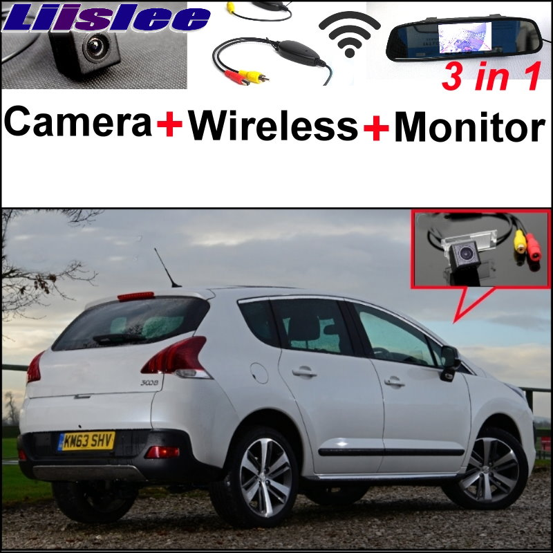 Liislee 3 in1 Special Rear View Camera + Wireless Receiver + Mirror Monitor Easy Back Parking System For Peugeot 3008 2012~2017 elk head pattern faux suede hunting hat
