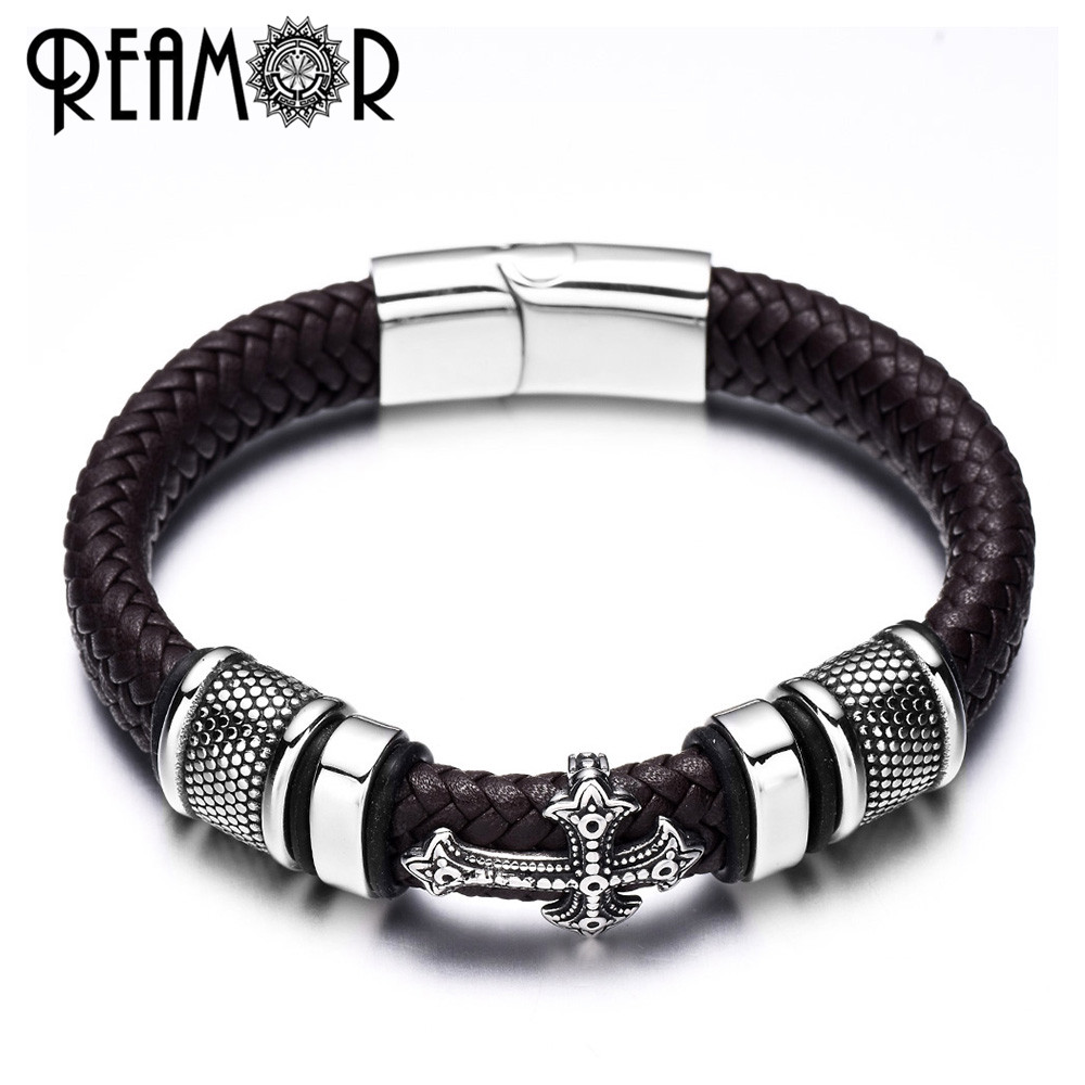 REAMOR 12mm Width Braided Leather Men Bracelets 316L Stainless Steel Cross Charms Cuff Bracelets Bangles Trendy