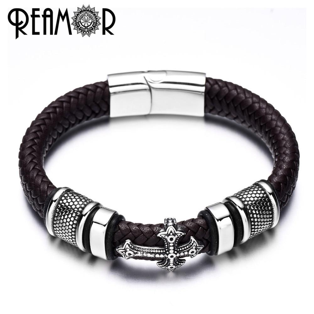 REAMOR 12mm ancho trenzado cuero hombres pulseras 316L Acero inoxidable Cruz encantos brazaletes pulseras brazaletes moda joyería masculina