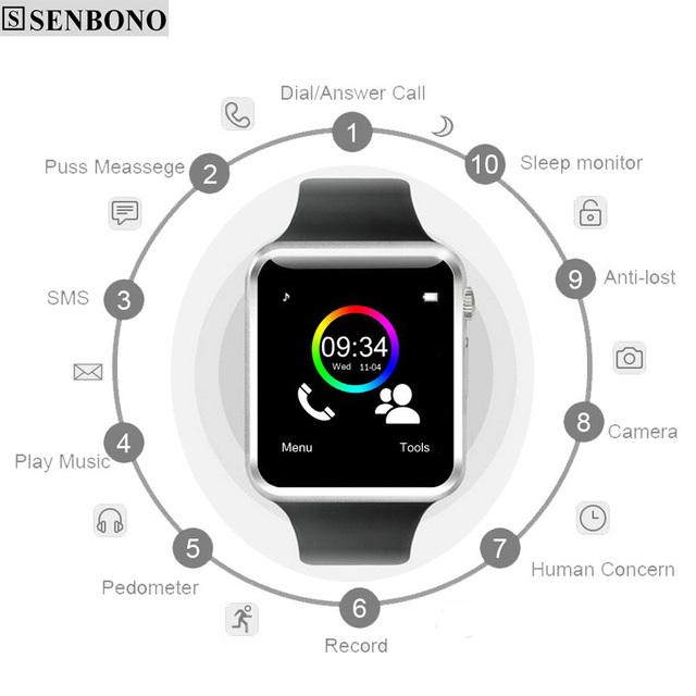 A1 WristWatch Free Shipping Bluetooth Smart Watch Sport Pedometer with SIM Camera Smartwatch For Android Smartphone Russia new