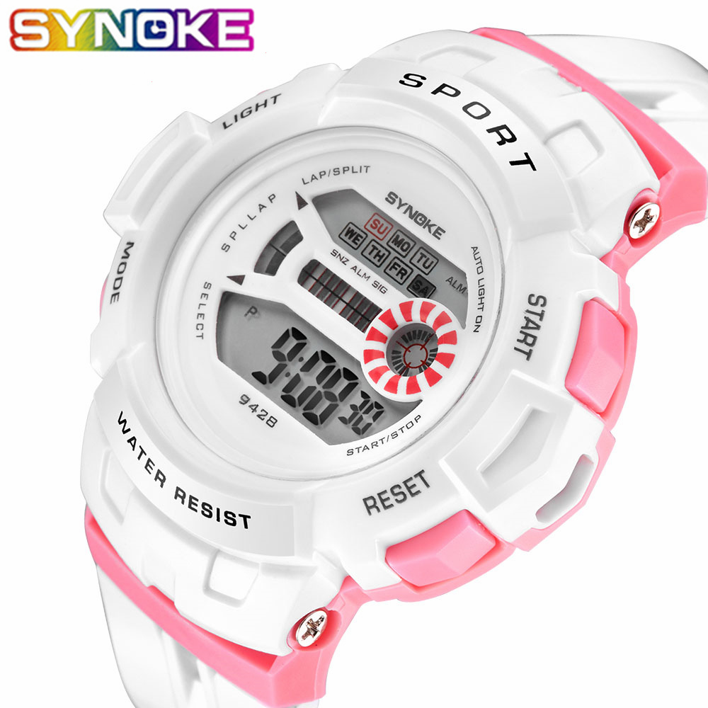 SYNOKE Sports Children Watches Fashion LED Quartz Digital Watch Boys Child Kids 30M Waterproof Wristwatches For Boys Girls Gift