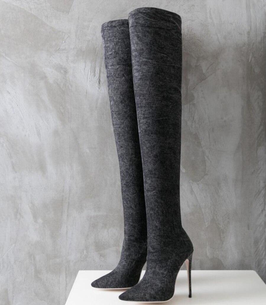 Longue Taille Le 12 Pointu Talon 43 Extensible Noir Mince Bottes Grande Sur Boot Bout Mode Cuissardes Stylesowner Denim Genou Cm hCrdtsQ