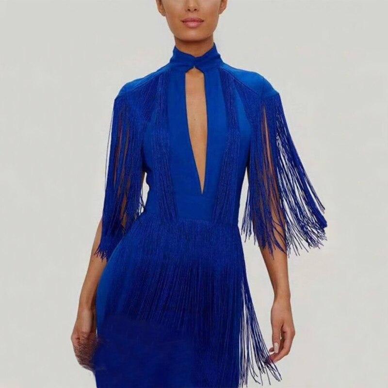 Mode bleu foncé gland à manches courtes Bandage robe 2018 nouveau modèle Sexy évider moulante élégante fête d'été robes Vestidos
