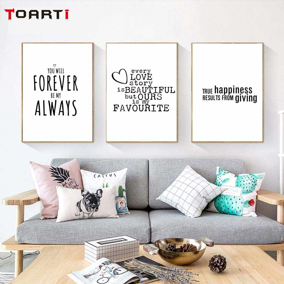 Happiness Love Life Quotes Modern Poster&Prints Canvas Painting For Living Room Wall Art Murals Modular Wall Picture For Bedroom