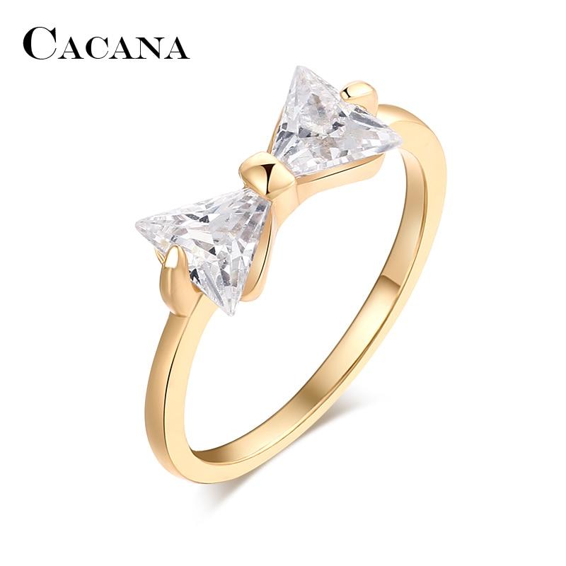Cacana кубического циркония Кольца для Для женщин завязанный Тип Мода цинковый сплав Кольца Jewelry бижутерия оптом без. R505