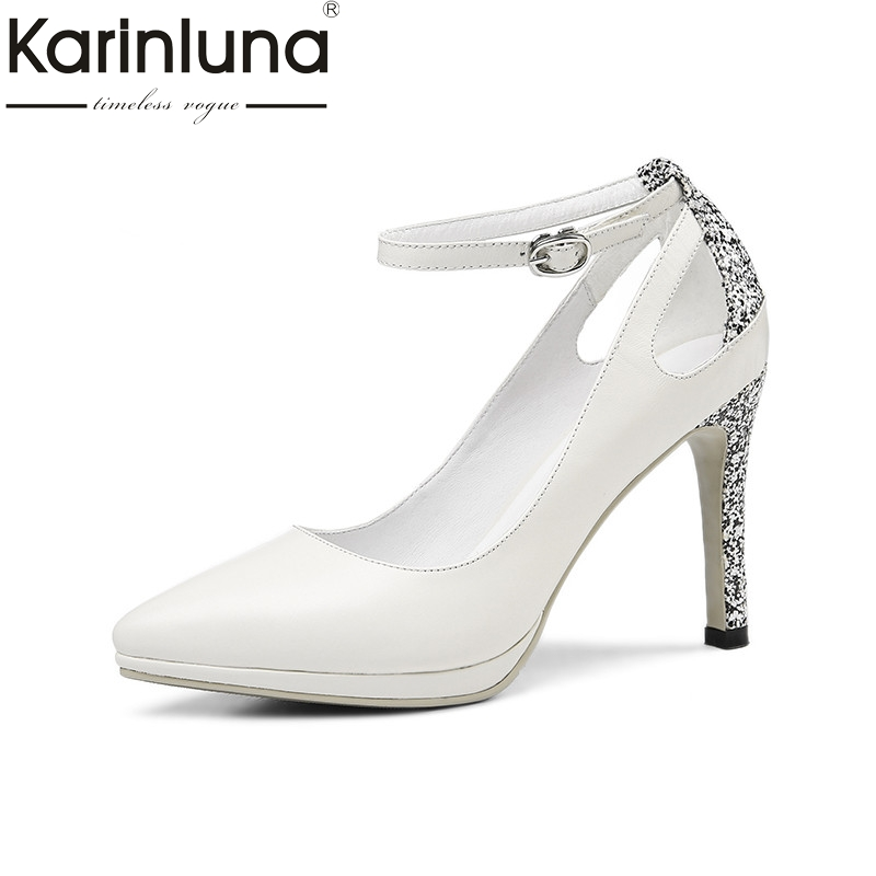 Karinluna 2018 Summer Brand Women Kid Leather Pumps Elegant Shallow Lady Shoes Woman High Heels Glitter Shoe Big Size 33-40 stylesowner elegant lady pumps sandal shoe sheepskin leather diamond buckle ankle strap summer women sandal shoe
