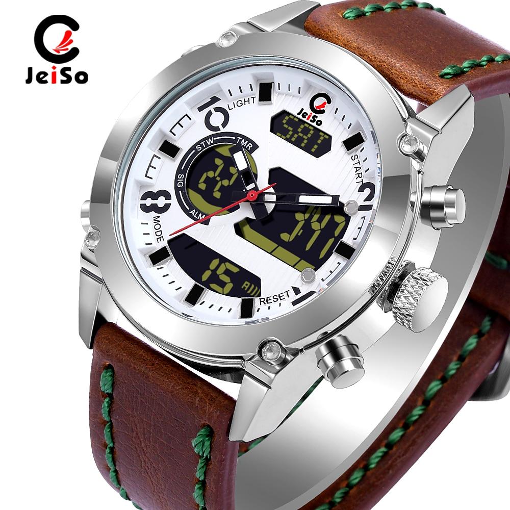 Military LED Analog Digital Watch Leather Waterproof Shockproof Clock Quartz Sports Watches