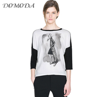 DOMODA Summer Tops Women Clothing Color Block Contrast Artwork Printed O Neck T Shirt Brief Style
