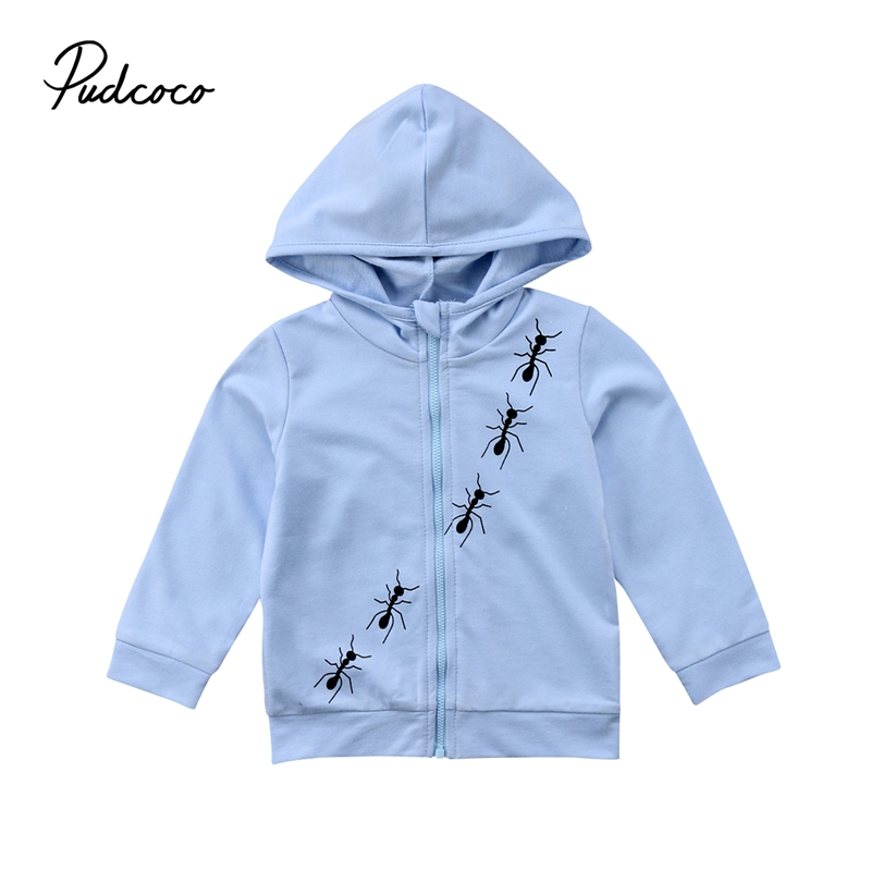 Toddler Kid Baby Boys Girls New Fashion Solid Ant Printed Long-Sleeve Zipper Hooded Autumn Outwear Clothes 3-8T Hot