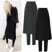 M 6XL! New Fashion Women Autumn&Winter Warm Leggings Thick Velvet Fake two pieces leggins skirt pants
