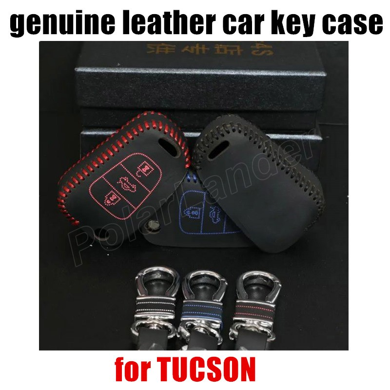 Only Red hot sale car key case leather hand sewing car key cover fit for HYUDNAI SONATA 8 NEW ELANTRA VERNA I30 TUCSON