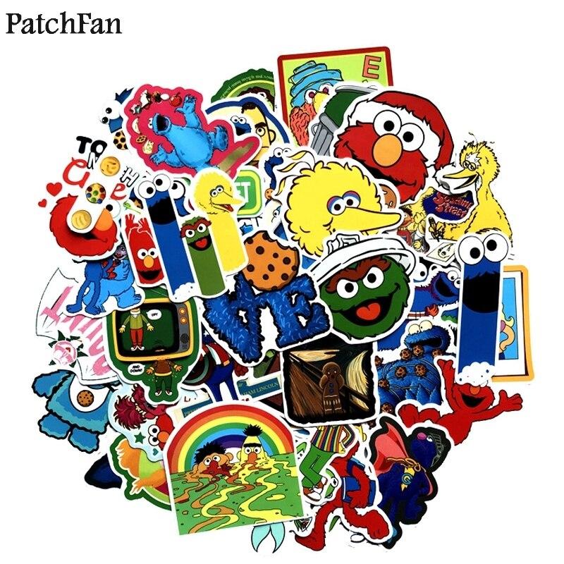12sets lot Patchfan 50pcs set Sesame Street funny Pvc Stickers diy home decoration Luggage Skateboard Laptop