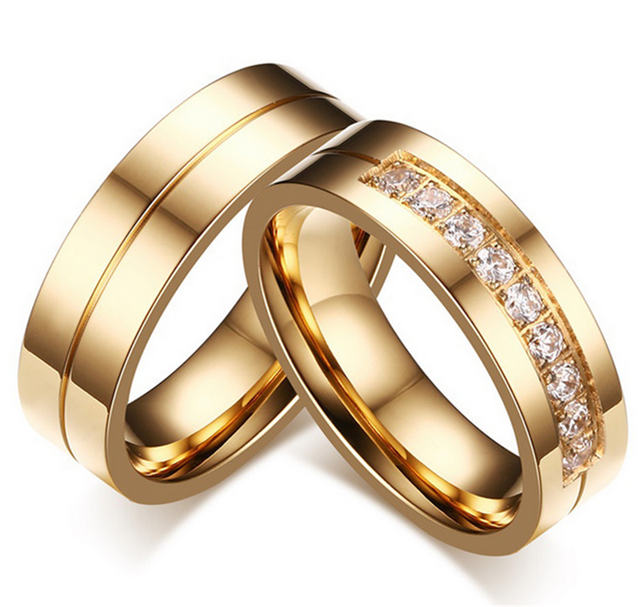 New Couple gold old Engagement Ring Jewelry Lovers Rings For Women And Men Stainless Steel With AAA+ CZ Sone Never Rust or Fade