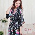 Plus Size S-XXL Mulheres Pijama Roupão e Cinto Japonês Gueixa Yukata Kimono Robe de Cetim de Seda Do Vintage Sexy Lingerie Quente Sleepwear
