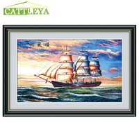 5D DIY Diamond Painting Scenery Cross Stitch Sailing Boat Landscape Mosaic Pattern Hobbies And Crafts Home