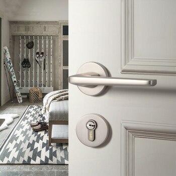 Modern Interior Doors | 1 Set  /Door Lock Modern Style Retro Bedroom Yellow Bronze Door Handle Lock Interior Anti-theft Room Safety Door Lock