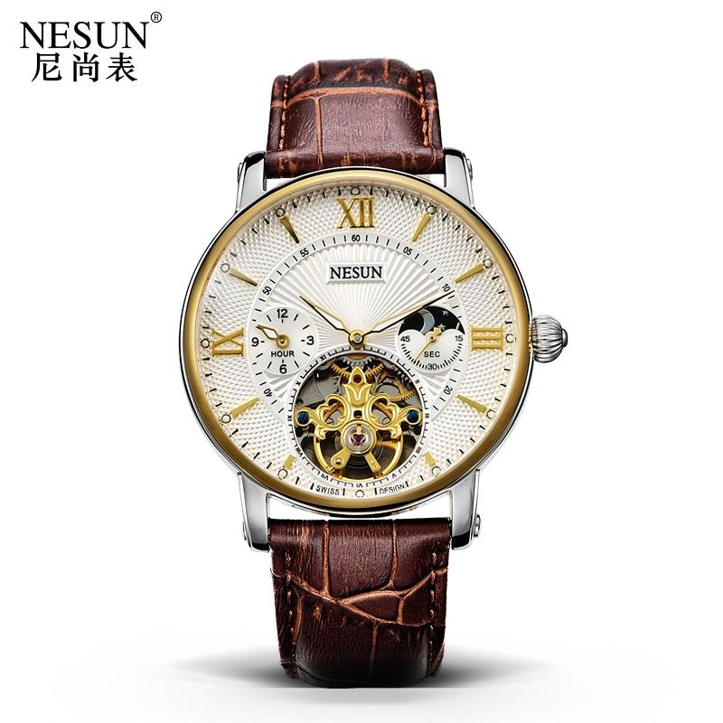 Suisse Nesun creux Tourbillon montre hommes de luxe marque automatique mécanique montres pour hommes saphir étanche horloge N9091 1-in Montres mécaniques from Montres    3