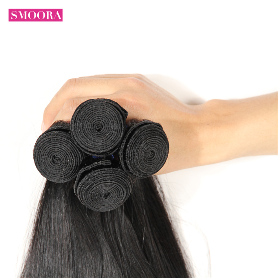 Straight  4 Bundles Deal 100% Natural Black  s Straight  Mix length Non-remy 4