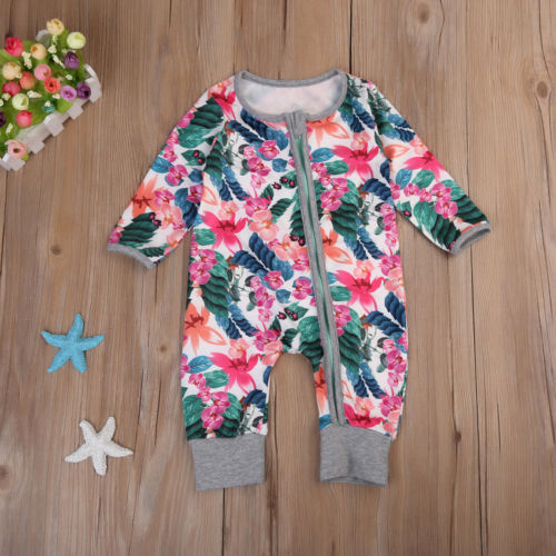 Newborn Infant Baby Girls Floral Long Sleeve Romper Jumpsuit Clothes Outfit 0-2T