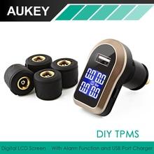 Aukey автомобилей TPMS шин Давление системы контроля Сенсор Беспроводной ЖК-дисплей Дисплей and Давление аварийная система Беспроводной автомобиля Зарядное устройство