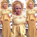 2016 Vestido Estilo Sereia Longo Ouro Ancara Vestido Metade Mangas Lace Vestidos Formais Desgaste da Noite Para As Mulheres Africano SAU311