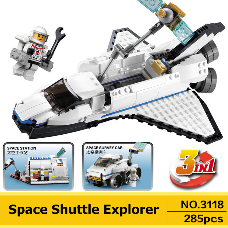 Creator 3 in 1 Space Shuttle Explorer DECOOL 3118 City Building Blocks Sets Kits Bricks Classic Model Kids Toys Compatible Legoe decool technic city series excavator building blocks bricks model kids toys marvel compatible legoe