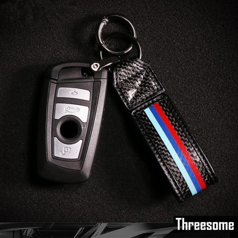 Srxtzm Carbon Fiber Car Key Fob Holder Keyring Auto Keychain For
