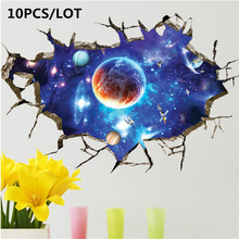 10PCS INS Space Starry sky universe Wall Sticker 3D Home Decor Bedroom Living room TV Mural Wallpaper Door